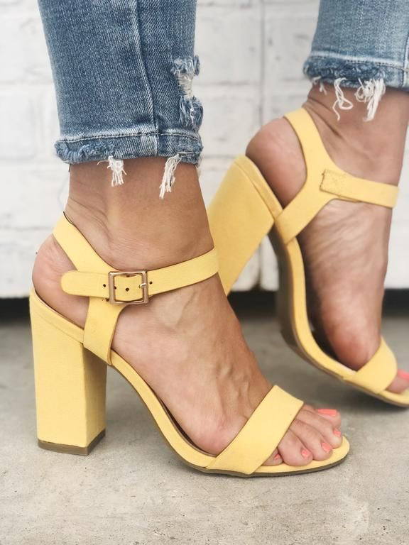 ed531ff7ff Yellow strappy heels with ankle buckle. Yellow heels. Spring shoes. Spring  fashion.