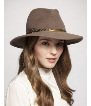BIANCA wide brim fedora in mink velour with a gold braided leather cord and gold hardware (Eugenia Kim)