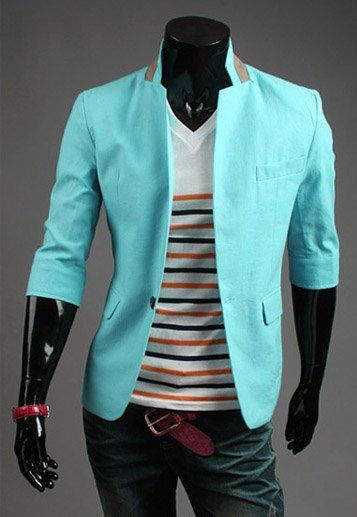 Fashion Multi-Pocket Color Block Splicing Stand Collar Three-Quarter Sleeve Slimming Polyester Blazer For Men #hats, #watches, #belts, #fashion, #style