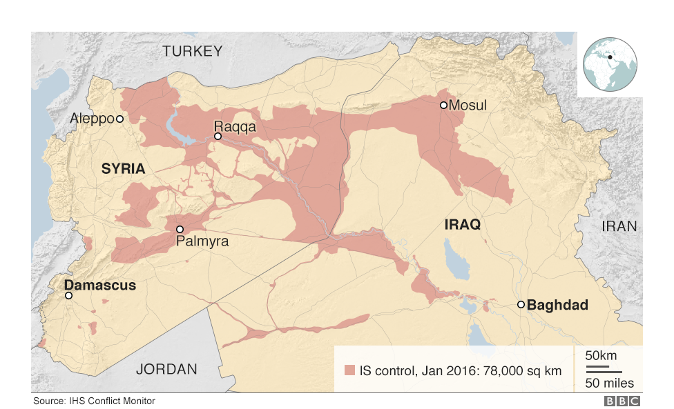 The war against islamic state in maps and charts syria and islamic map of iraq and syria showing the territory controlled by is in january 2016 gumiabroncs Image collections