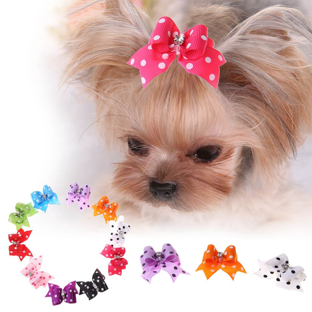 pcs tartan design dog hair bow pet dog bows with pearl cute