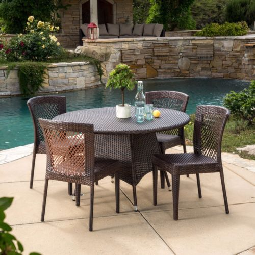 Christopher-Knight-Home-Bertha-Outdoor-5-piece-Wicker-Dining-Set - gartenmobel set alu 5 teilig