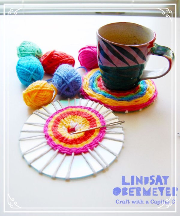 Upcycling a CD into a Woven Coaster | DIY Crafts ...