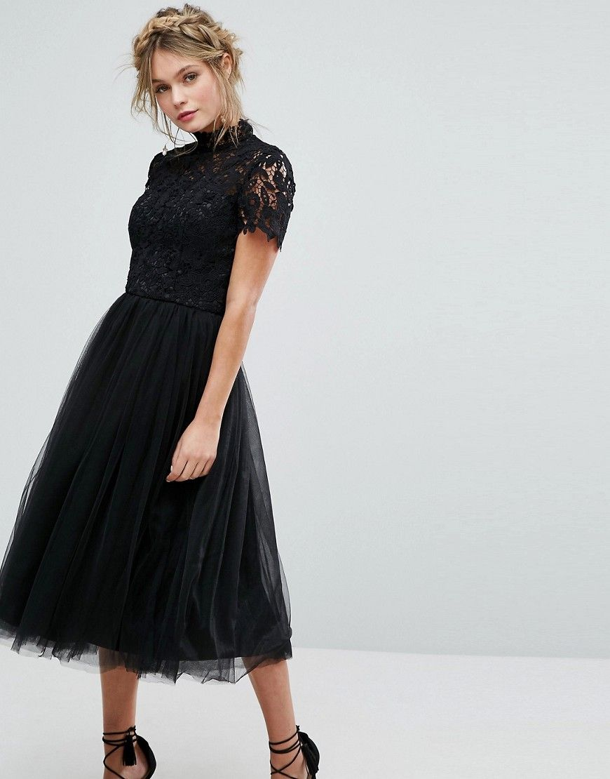 d9edc00564f7 Chi Chi London high neck lace midi dress with tulle skirt in black ...