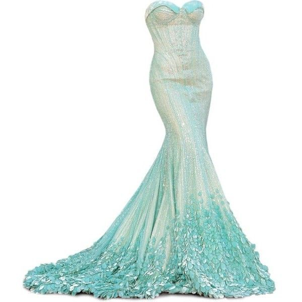 Under the sea mermaid wedding theme inspiration polyvore for Ocean themed wedding dress