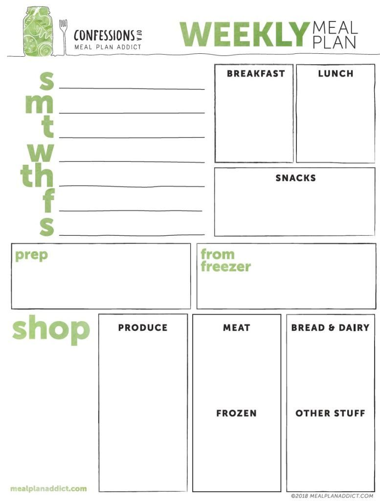 Free Printable Weekly Meal Planning Template Meal Planning Template Weekly Meal Plan Template Meal Planner Template
