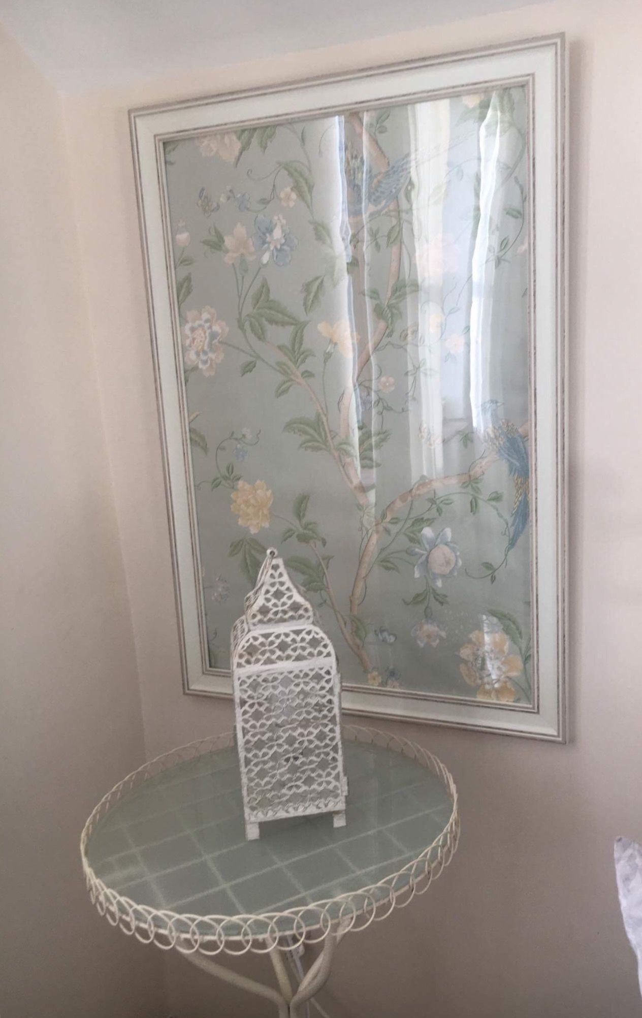 Laura Ashley Eau De Nil Summer Palace Wallpaper Framed