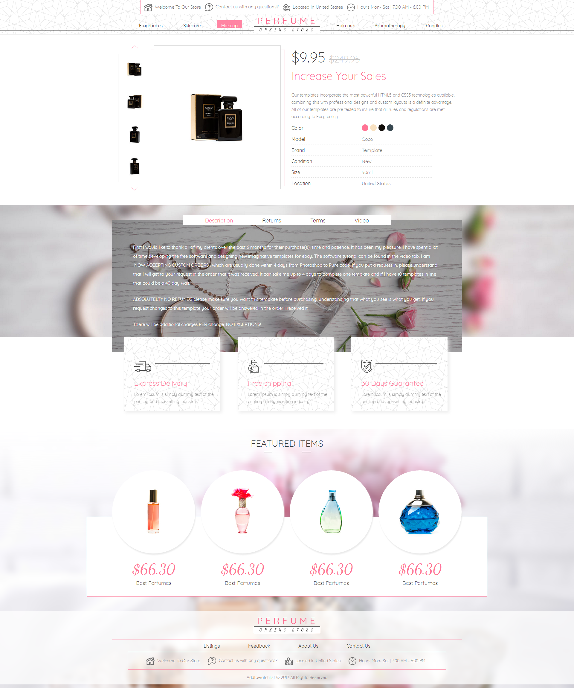 2019 Compliant Mobile Responsive Ebay Auction Listing Template Perfume Fragrance Ebay Templates Templates Html5 Templates