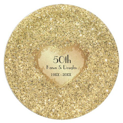Sparkle Gold Heart 50th Wedding Anniversary Paper Plate  sc 1 st  Pinterest & Sparkle Gold Heart 50th Wedding Anniversary Paper Plate | Wedding ...