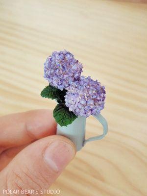 5 x Hydrangea Clay Flowers Plants DIY Dollhouse Miniature Plant Handmade Decor
