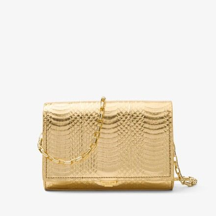 fbcdf3034dd7 Michael Kors Yasmeen Metallic Gold Snakeskin Leather Clutch - Tradesy