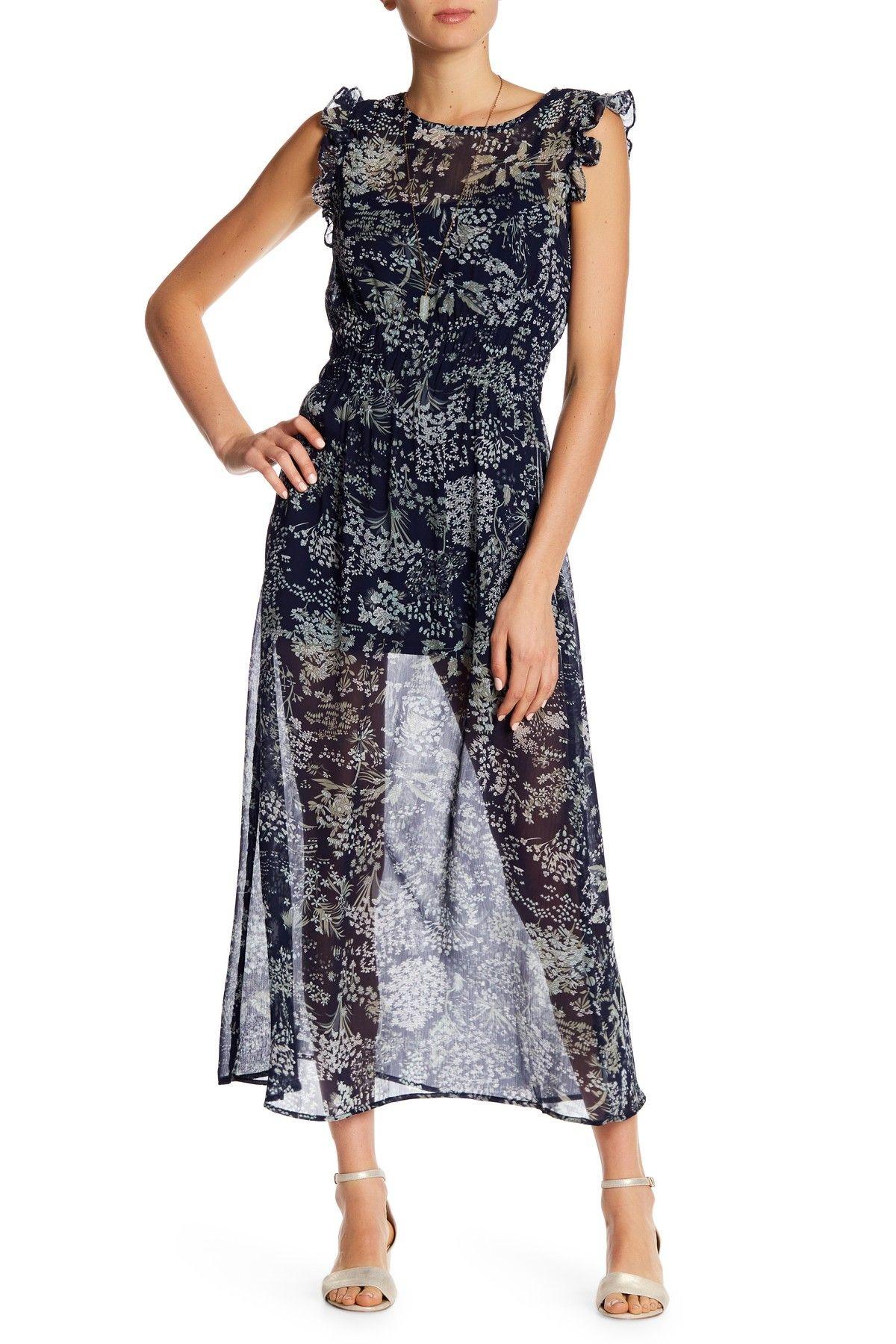 Blush noir sleeveless ruffle trim floral print maxi dress fashion