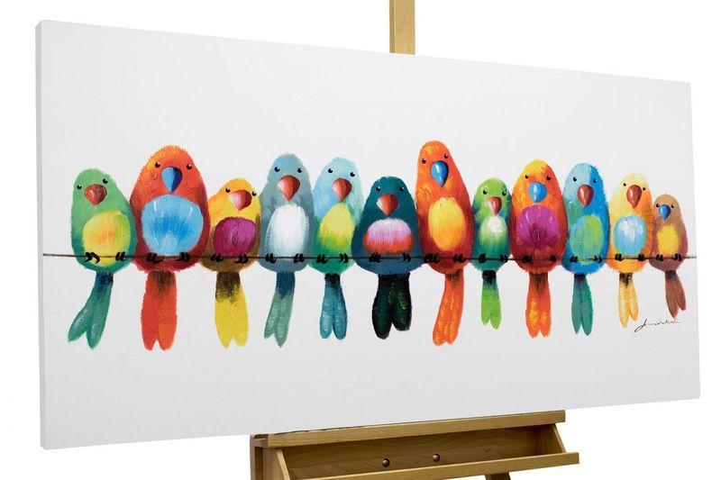 Acrylmalerei gem lde 39 v gel heimat bunt 39 handgemalt ein designerst ck von kunstloft bei - Leinwand bemalen mit kindern ...