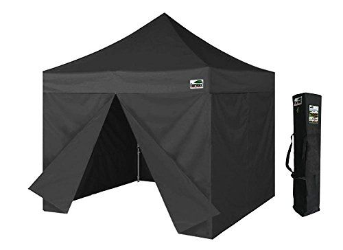 Eurmax 10 X 10 Ez Pop Up Canopy Outdoor Gazebo Party Camping Tent With 4 Zippered Side Walls And Carry Bag Black F Canopy Tent Outdoor Canopy Outdoor Gazebo