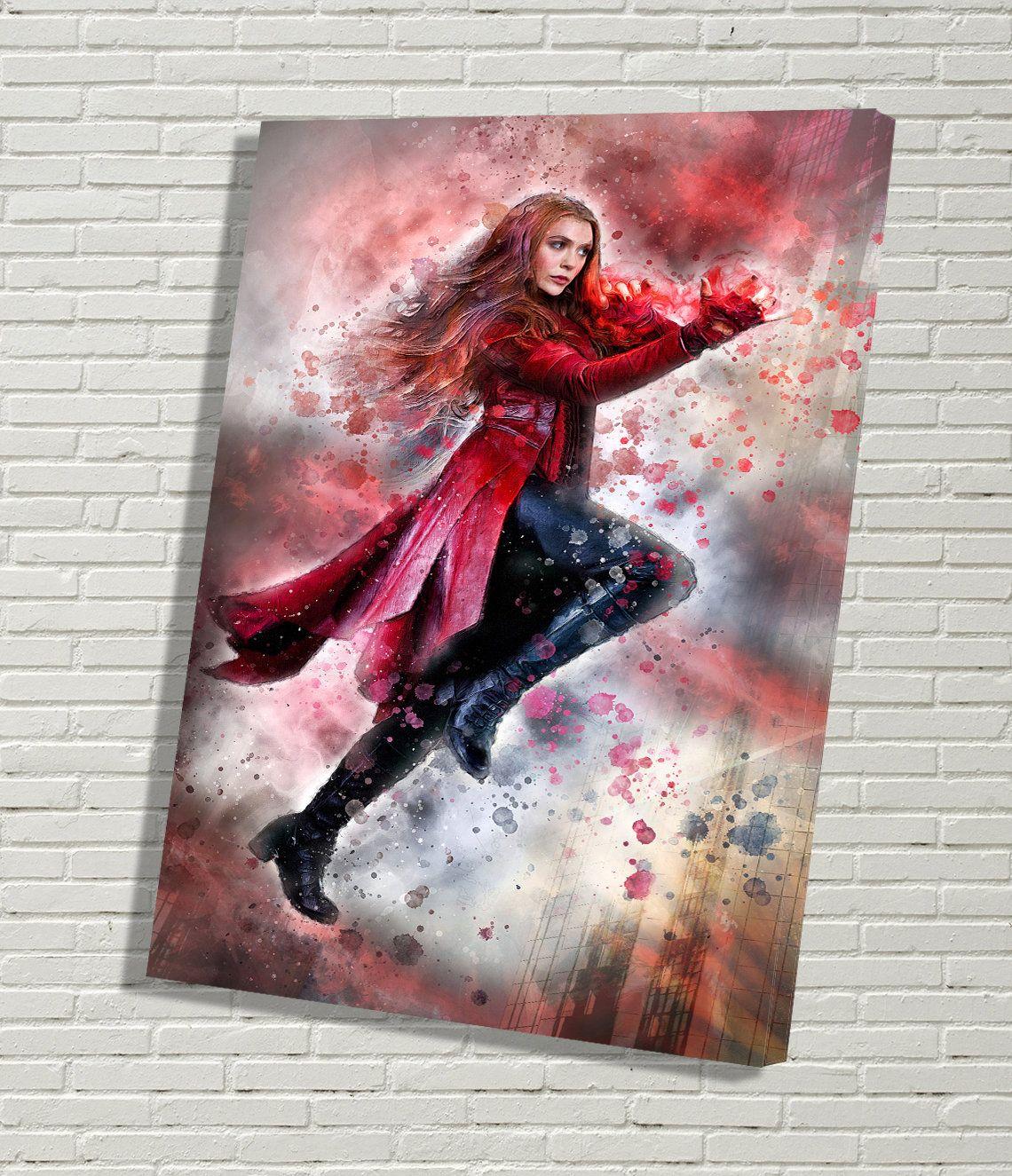 Poster Avengers Endgame Painting Art Print Scarlet Witch Watercolor Canvas Print Elizabeth Olsen Wanda Maximoff