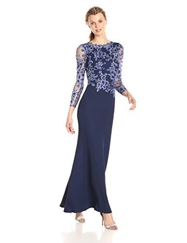 969b3e4617491 Beautiful Tadashi Shoji Women s Long-Sleeve Gown in Textured Crepe with  Floral Lace Bodice online.   418.65  alltrendytop from top store