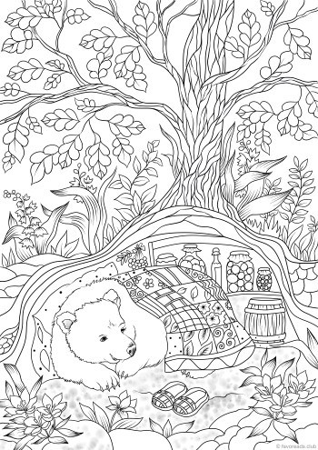 Bear In A Hole Favoreads Coloring Club In 2020 Puppy Coloring Pages Owl Coloring Pages Unicorn Coloring Pages