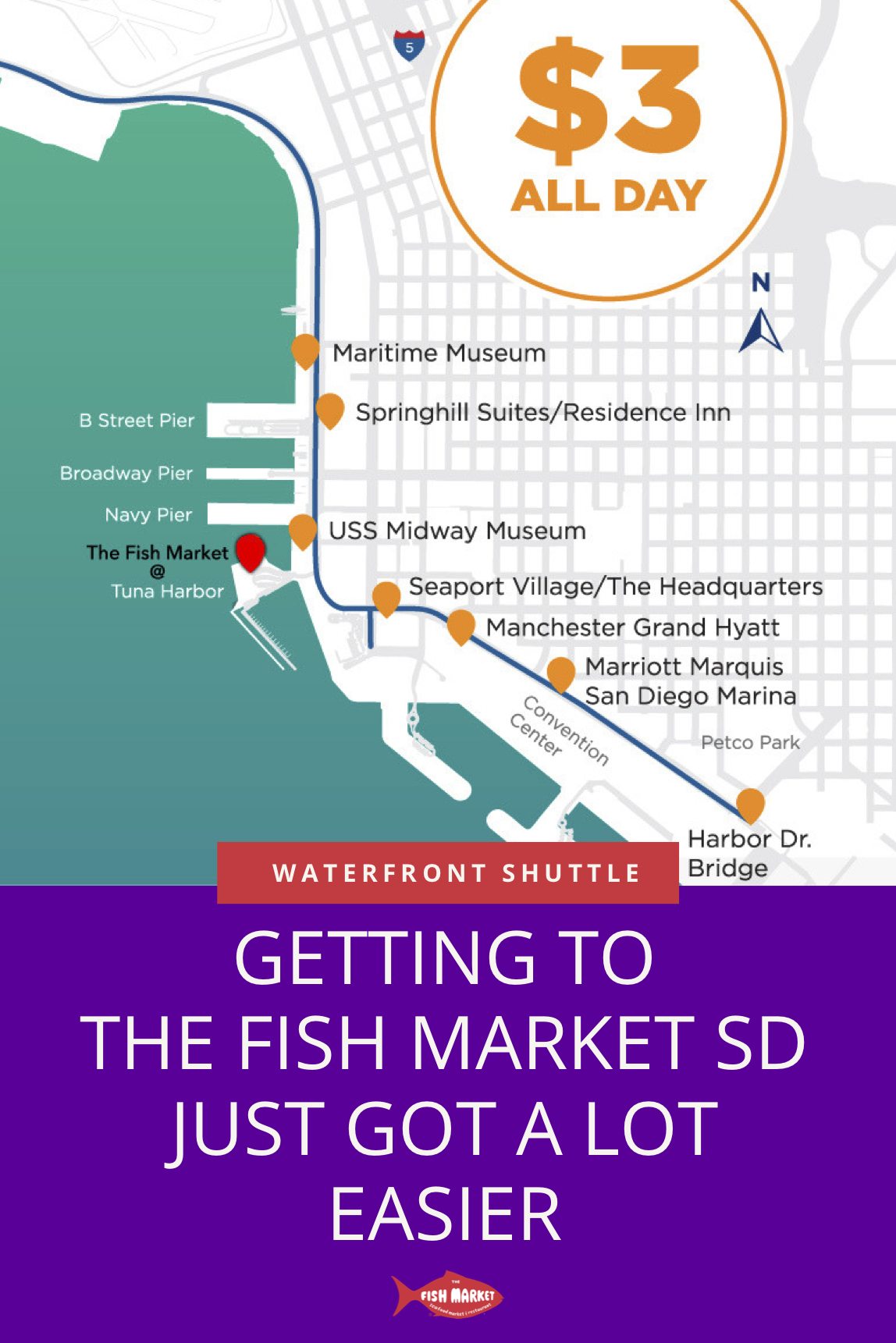 Don T Let Parking Troubles Ruin Your Appetite Take The Waterfront Shuttle To Thefishmarket Sandiego This Summer Seaf San Diego Hotels San Diego Waterfront