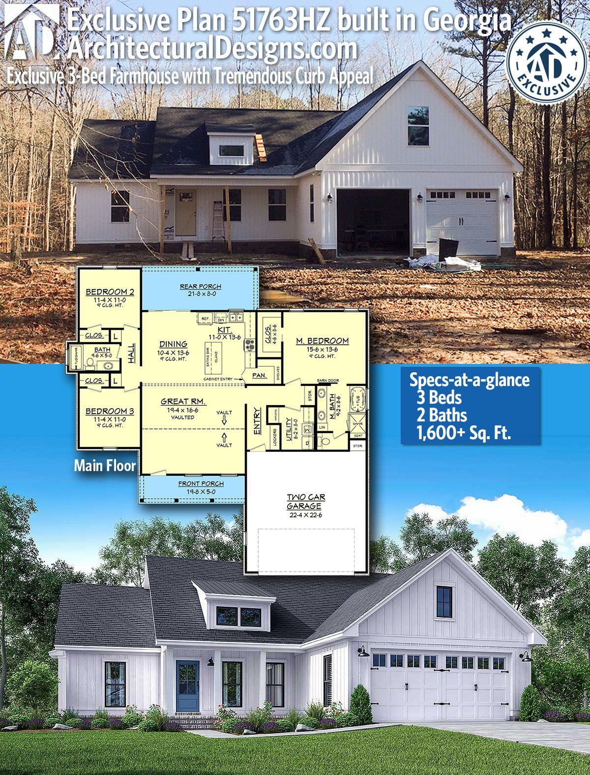 Plan 51763hz Exclusive 3 Bed Farmhouse With Tremendous