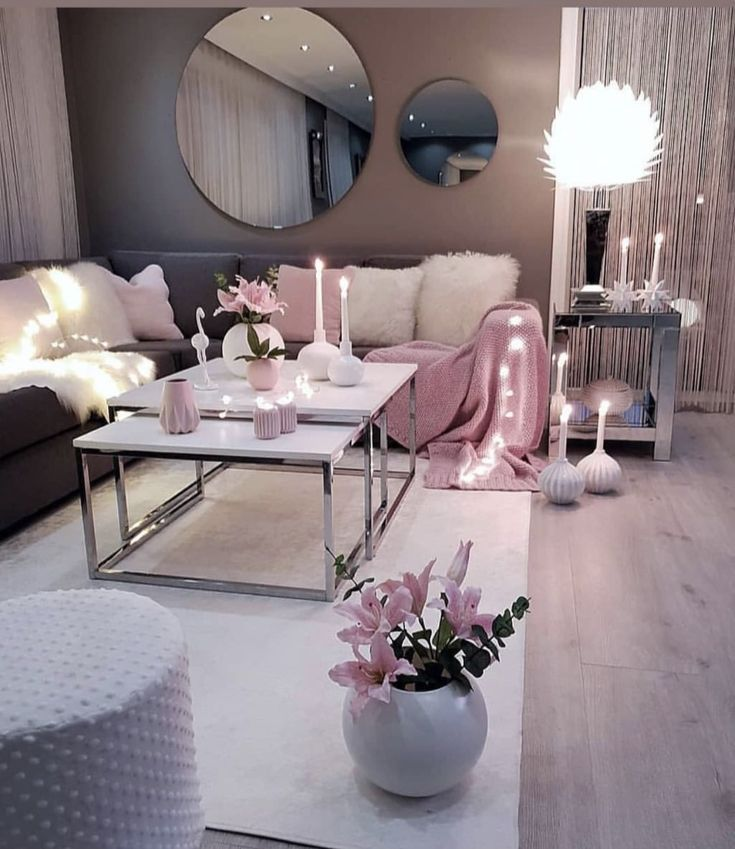 Living Room Setup Grey Pink And White Colour Scheme Apartment