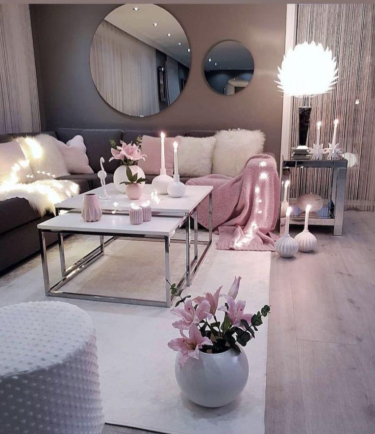 Living Room Setup Grey Pink And White Colour Scheme Apartment Living Room Design Pink Living Room Living Room Setup