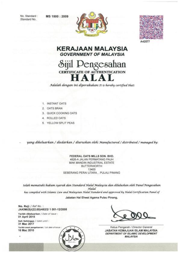 Federal Oats Mills Sdn Bhd - Halal Certificate Gulfood - blank certificate of origin