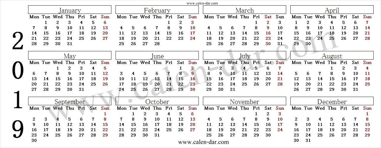 2019 Calendar By Month 2019 Calendar Pinterest 2019 calendar