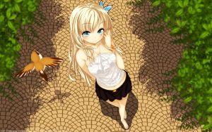 Preview wallpaper buriki, boku wa tomodachi ga sukunai, kashiwazaki sena, girl, blonde, bird, fly