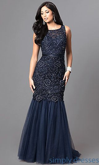 Dq 9256 N Long Navy Blue Formal Prom Dress With Sequined Lace