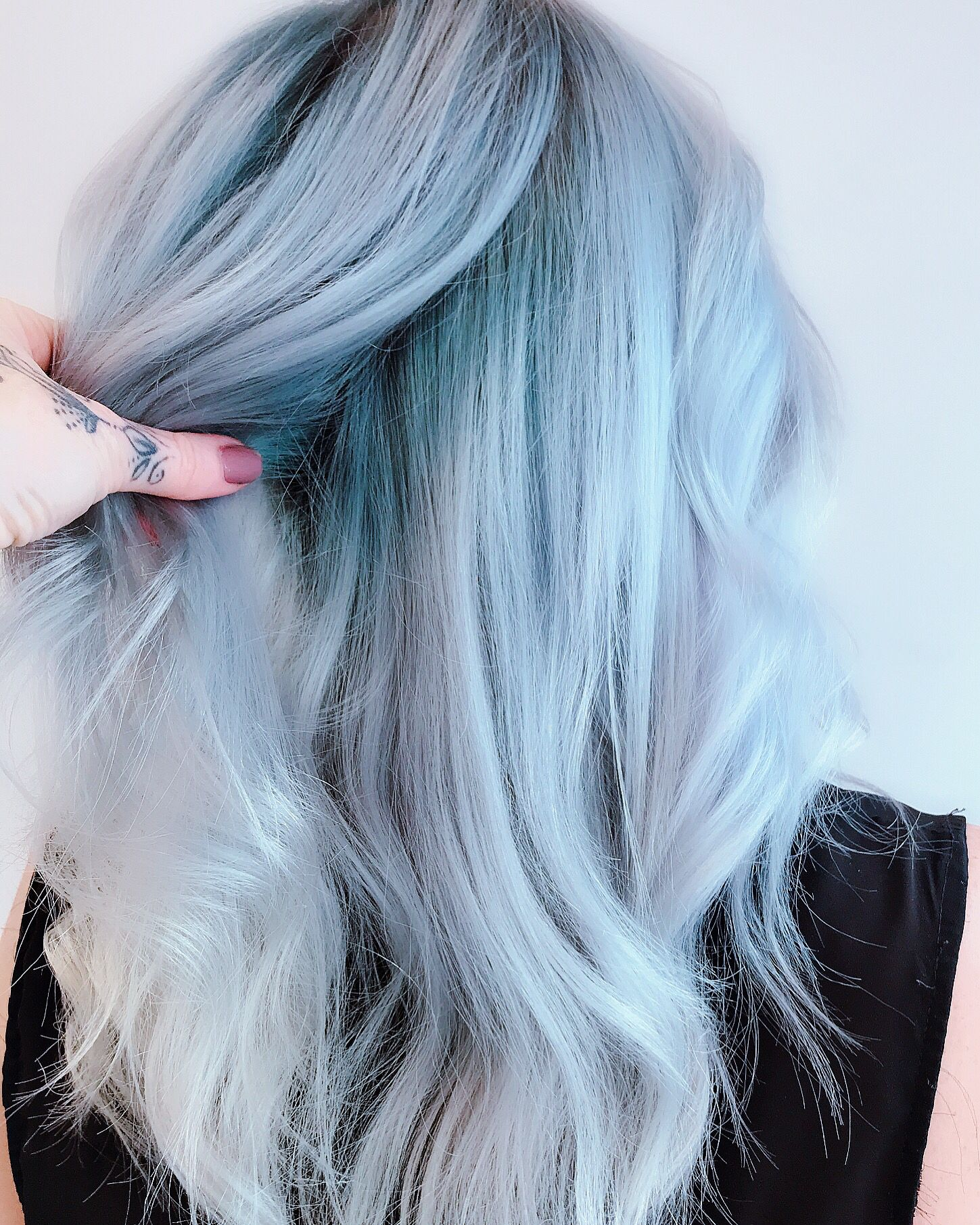 White Silver Baby Blue Colour Melt Root Shadow Dyed Hair Blue