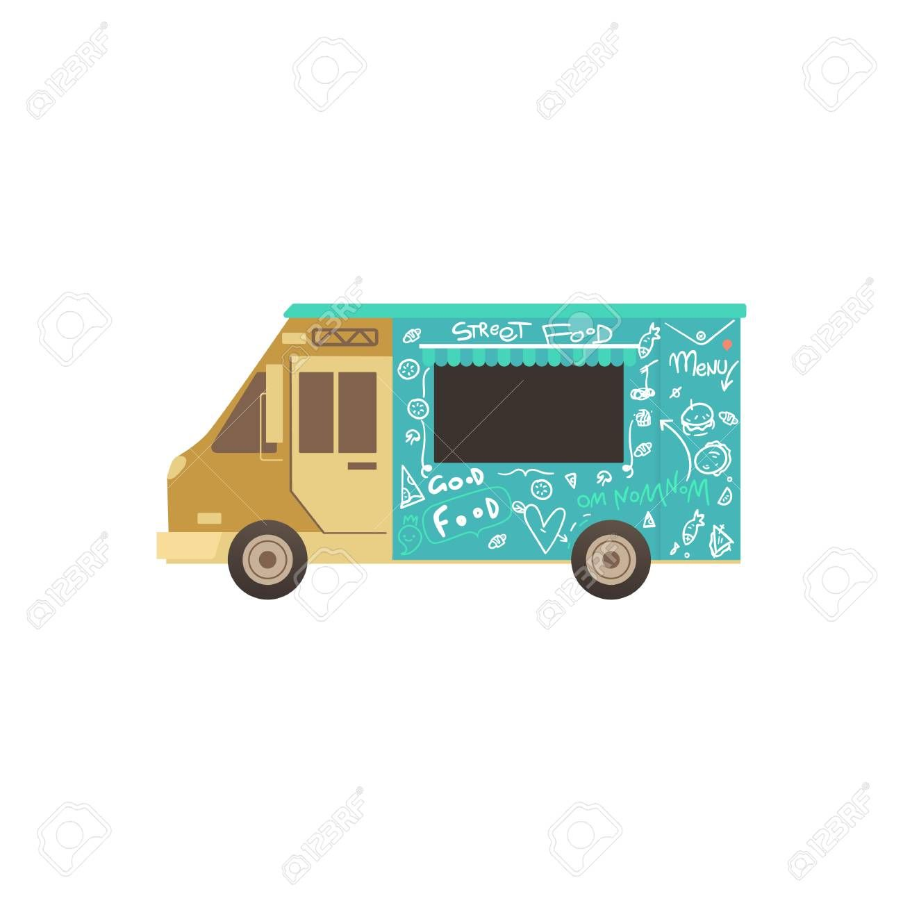 Food Truck Or Van For Fas Delivery Of Street Food Summer Outdoor