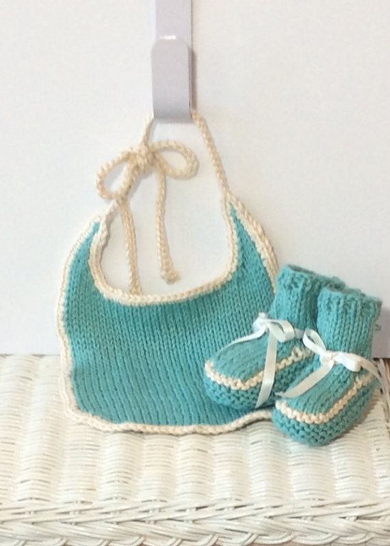Pima Cotton Baby Bib and Bootie Set by jwickey on Etsy