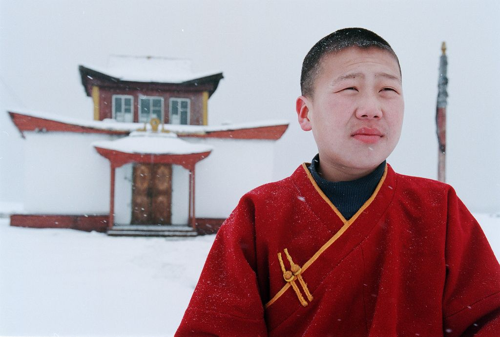 "slugsteak: "" Young Buddhist monk on the outskirts of Tuva, Russia. Dmitry Beliakov """