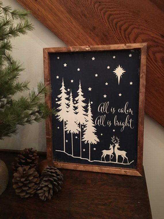 All is Calm All is Bright Wood Sign, Farmhouse Wood Sign, Rustic Wood Sign #woodsigns