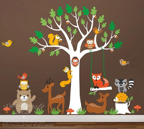 Kids Wall Decal tree wall decals animal deer von WonderwallDecal, $199.00
