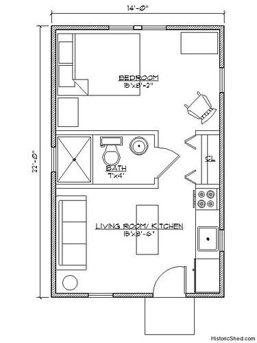 14 27x22 27 Narrow One Bedroom One Bath Cottage 308 Sf Picture On Visualizeus Tiny House Floor Plans Bedroom House Plans Tiny House Plans