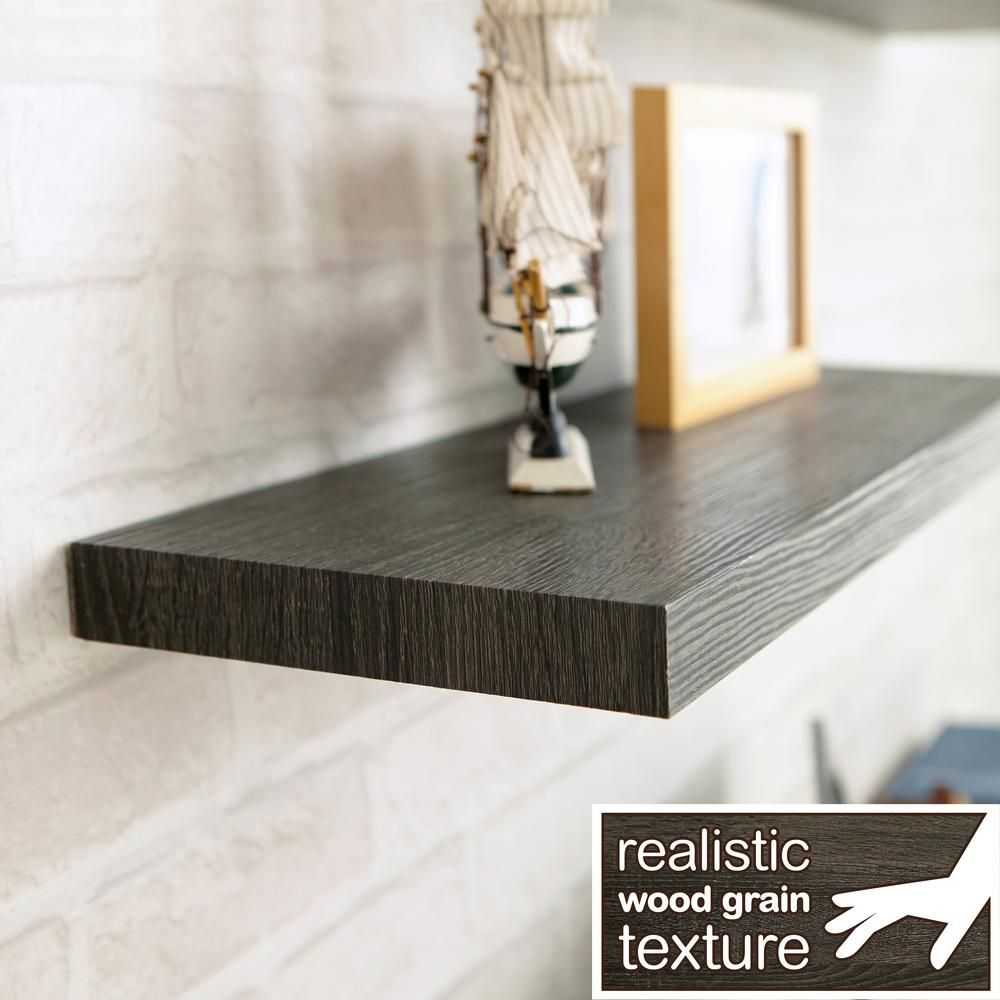Way Basics Antigua 24 In W X 8 In D Zboard Paperboard Textured Grain Wall Shelf Decorative Floating Shelf In Black Ash W S24 Ba Wall Shelves Wall Shelf Decor Floating Wall Shelves