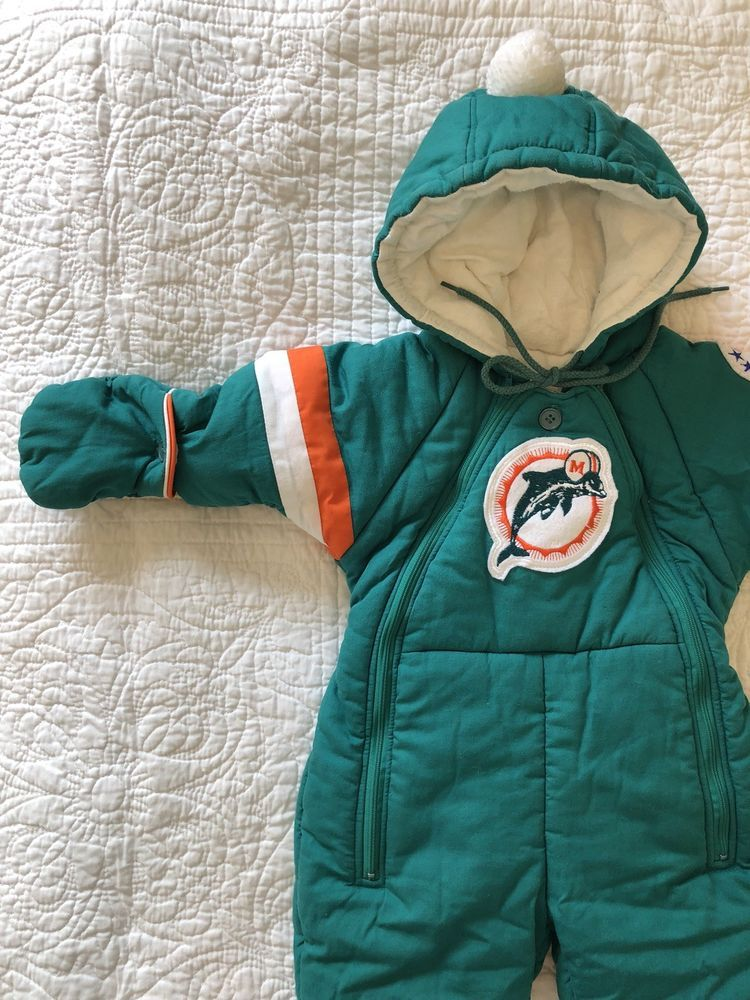 Vintage 80 S Miami Dolphins Baby Snowsuit 12 Months Ebay Baby Snowsuit Snow Suit Baby