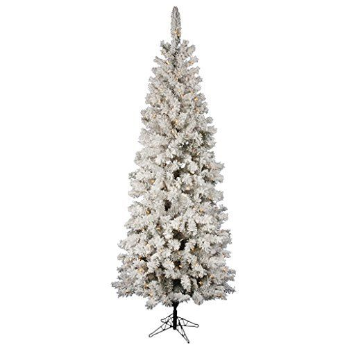 Flocked Pacific Pine 85\u0027 Artificial Pencil Christmas Tree with LED