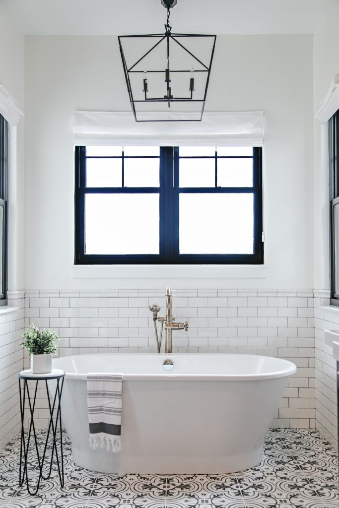 10 Ceramic Bathroom Floor Tile Ideas For Small Spaces Hunker Modern Farmhouse Master Bedroom Farmhouse Master Bathroom Farmhouse Bathroom Decor