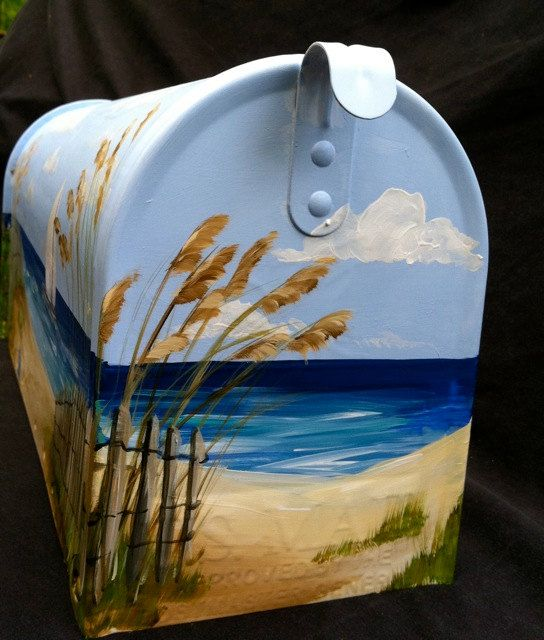 hand painted mailbox with sailboat