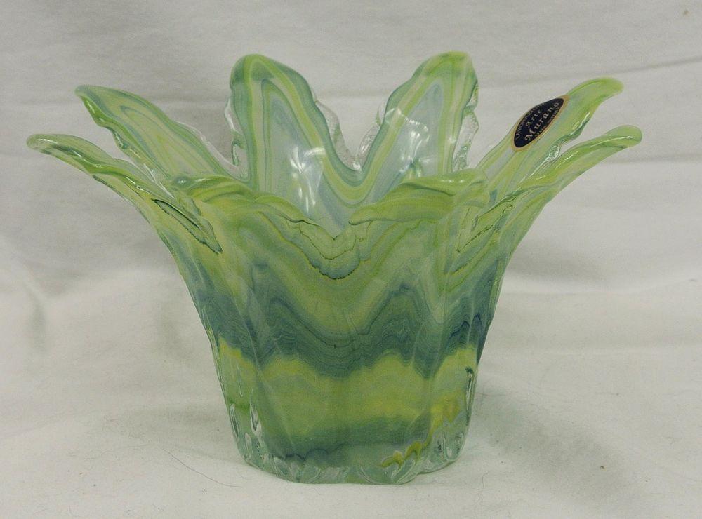 Murano Lavorazione Arte  Green & Blue Pastel Art Glass Petal Bowl Votive - ITALY