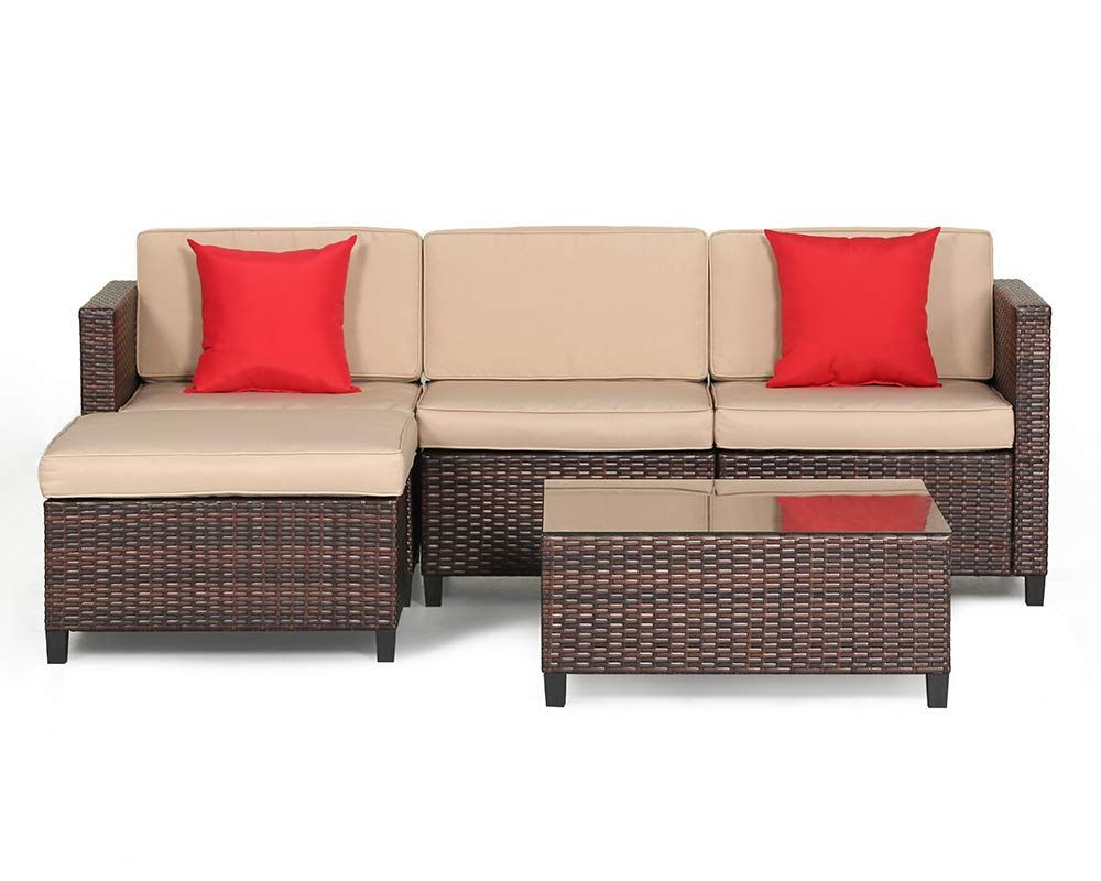 Suncrown Outdoor Sectional Sofa 5 Piece Set All Weather Brown