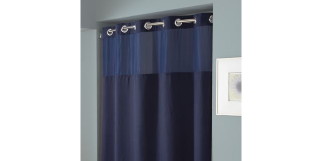 Hookless Waffle Fabric Shower Curtain And Liner Set In Navy