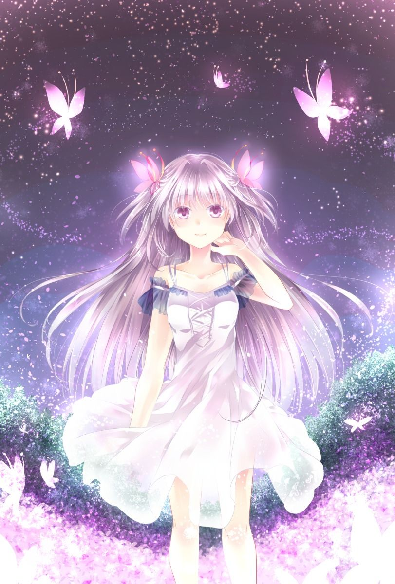 Anime girl with butterflys