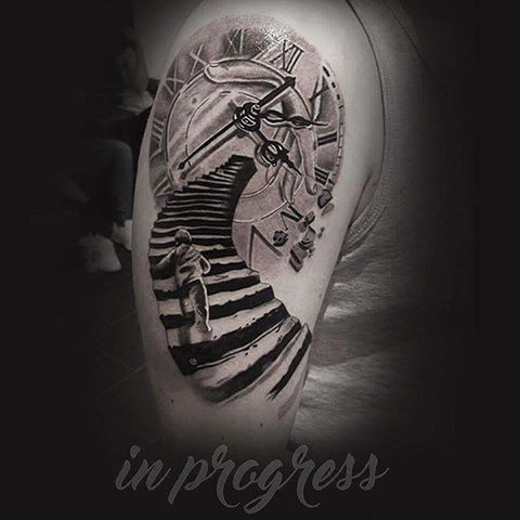 bildergebnis f r stairs to clock tattoo kompasstattoo pinterest. Black Bedroom Furniture Sets. Home Design Ideas