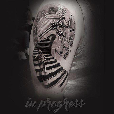 bildergebnis f 252 r stairs to clock tattoos