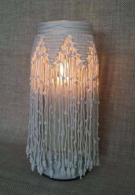 Lanterna vaso in macram centrotavola arredo casa macrame for Lampade arredo casa