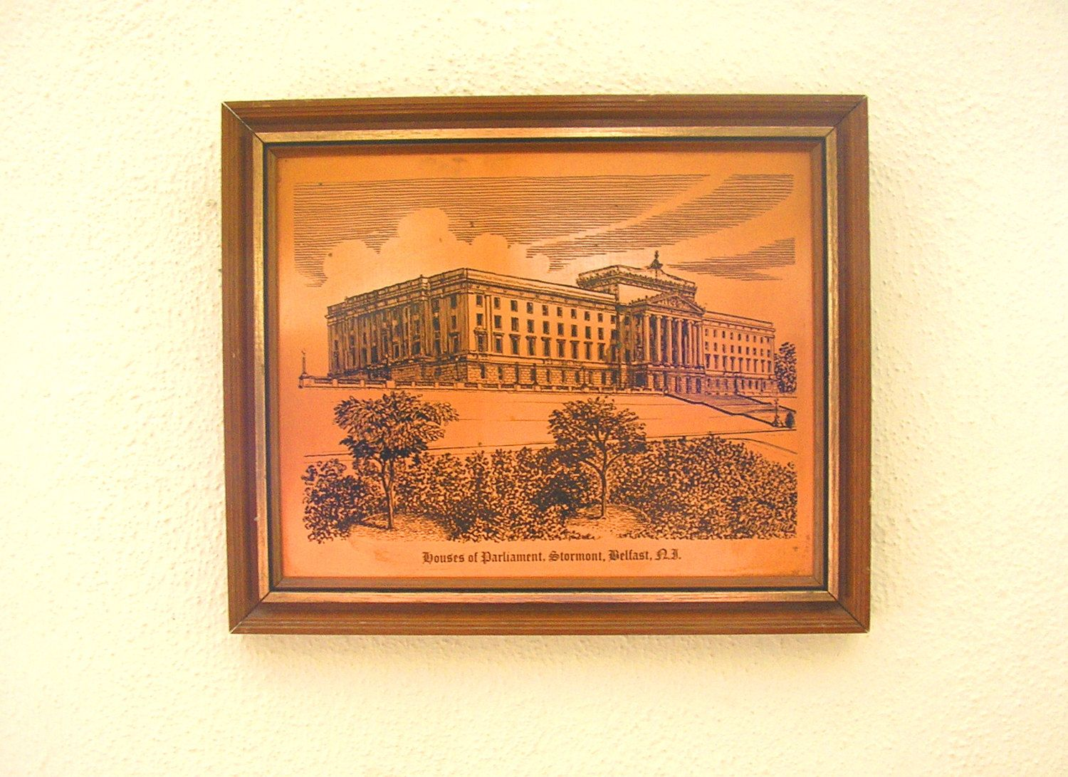 Vintage Irish Copper Etching Engraving Houses Of