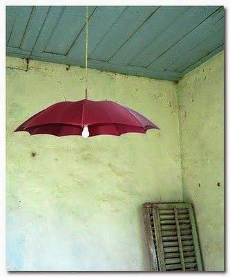 Paraguas como pantalla de luz